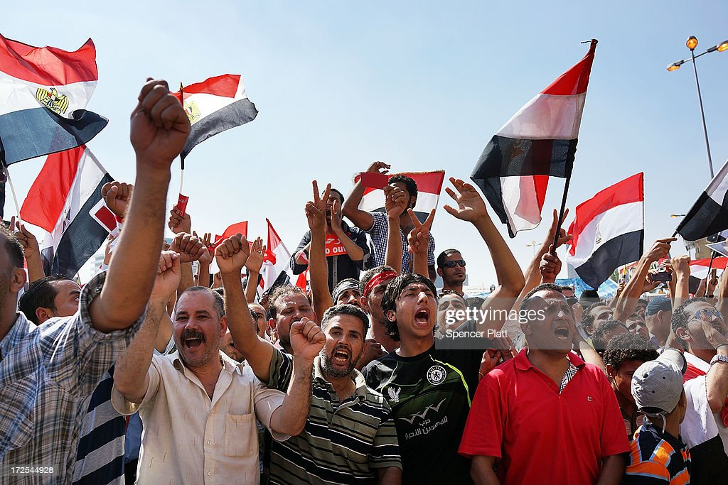 Thousands of Egyptian protesters begin to gather in Tahrir Square as the deadline given by the military to Egyptian President Mohammed Morsi approaches on July 3, 2013 in Cairo, Egypt. The president gave a defiant speech last night and vowed to stay in power despite the military threats. As unrest spreads throughout the country, at least 23 people were killed in Cairo on Tuesday and over 200 others were injured. It has been reported that the military has taken over state television.