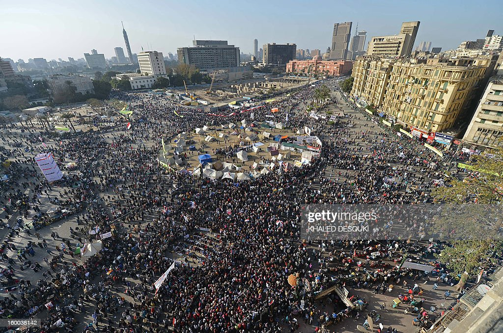 Thousands of Egyptian protestors gather is Cairo's Tahrir Square, on January 25, 2013, to demand change, two years after the uprising that ousted Hosni Mubarak and ushered in an Islamist government, as sporadic clashes erupted nearby.