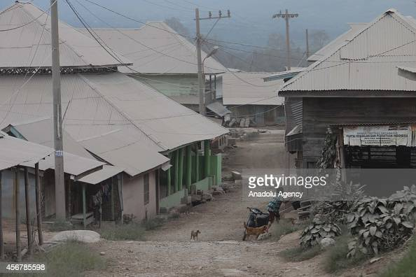 Thousands of homes covered in ash are seen in Suka Nalu village after the eruptions of Mount Sinabung in North Sumatra Indonesia on October 7 2014