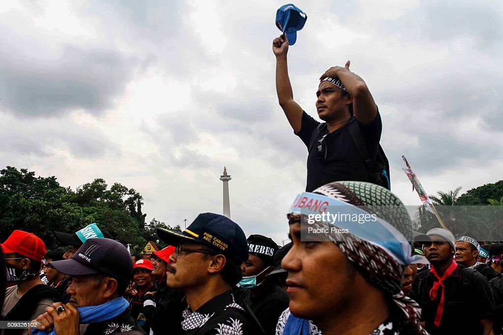Thousands of honorary teachers rally in front of the State Palace in Jakarta, Indonesia. This action requires the government appointed honorary teachers become civil servants.