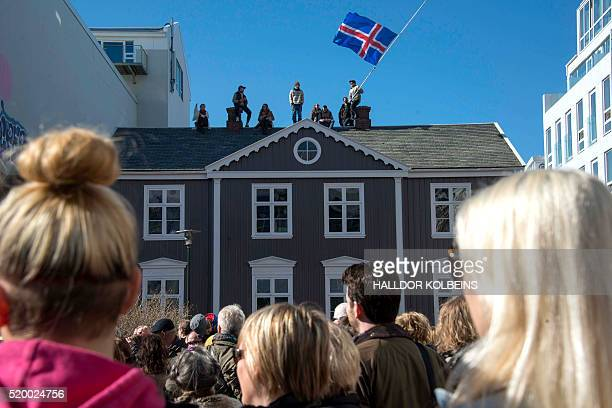 Thousands of Icelanders rally in Reykjavik on April 9 2016 to demand immediate elections on a sixth consecutive day of antigovernment protests over...