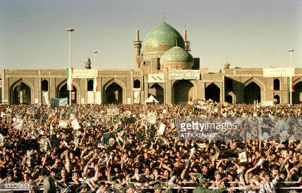 Thousands of Iranians from Mashhad welcome President Mohammad Khatami outside the Shiite Muslim shrine of Imam Reza in the northeastern holy city 05...