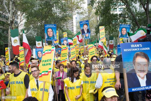 Thousands of Iranians rally outside the United Nations Headquarters in New York on September 20 2017 to denounce the presence of the Iranian regime...