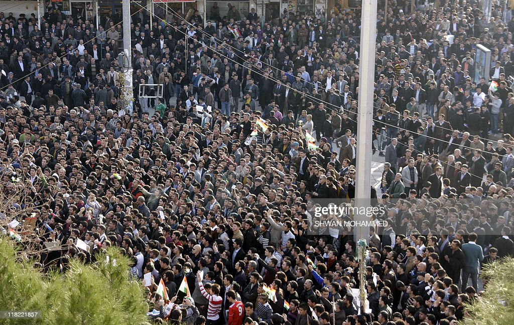 Thousands of Iraqi Kurdish anti-government protesters chant slogans as they demonstrate against the Kurdish region's leadership in the town of Sulaimaniyah in northern Iraq on February 23, 2011.