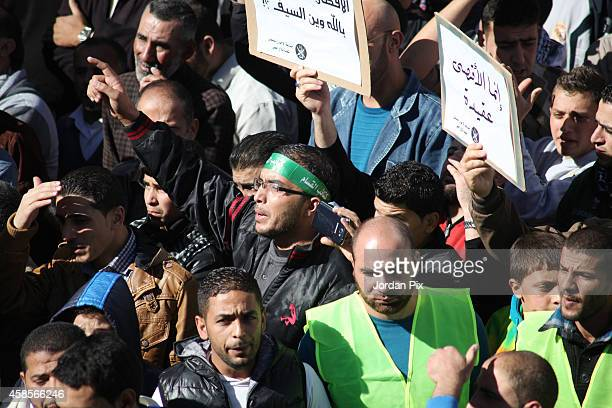 Thousands of Jordanians protest against the late Israeli actions at the Aqsa mosque on November 7 2014 in downtown Amman Jordan The protest comes...