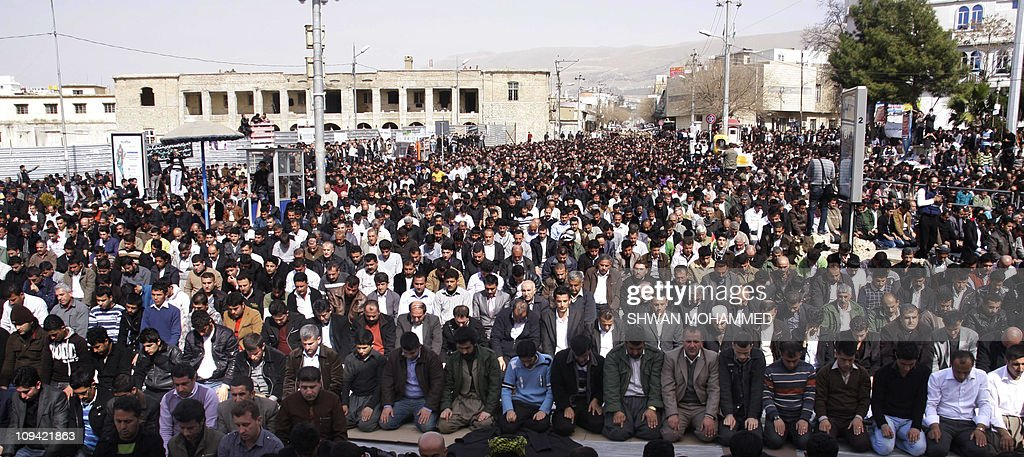 Thousands of Kurdish demonstrators perform the Friday prayer in the northern Iraqi Kurdish city of Sulaimaniya following protests, demanding government reforms on February 25, 2011. Thousands of demonstrators flooded streets across Iraq for a 'Day of Rage' that left seven people dead in clashes with police.