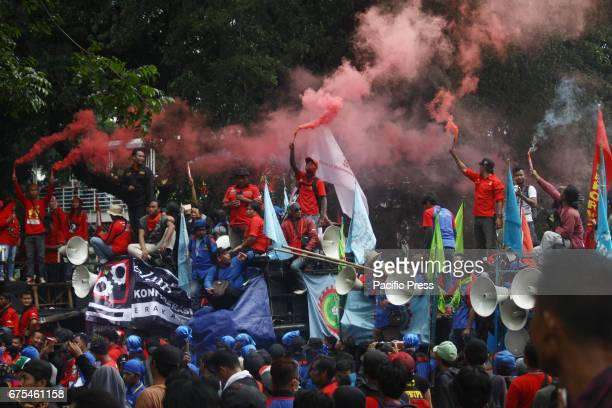 Thousands of laborers held a demonstration during the commemoration of International Labour Day 2017 or known 'May Day' in Medan Merdeka Street...