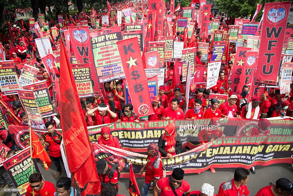 Thousands of labour from Jakarta, Bogor, Tangerang, Bekasi, and Depok held rally in front of Indonesian Palace commemorating the may day, they demand the increasing of the sallary for labor, on May 1, 2016, in Jakarta, Indonesia. Small riots occur during the rally because labour want to push further exactly in front of the palace which prohibitted by the police for the savety of the palace. Police manage to take control of the riot after securing one of the provocator. The rally went peacefully after the riot untill the labor leave the scene.