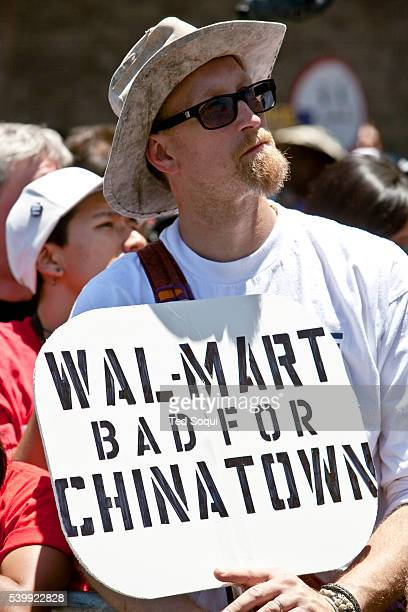 Thousands of Los Angeles residents union members and activist protest against a Walmart that is to be built in LA's Chinatown Union members claim...