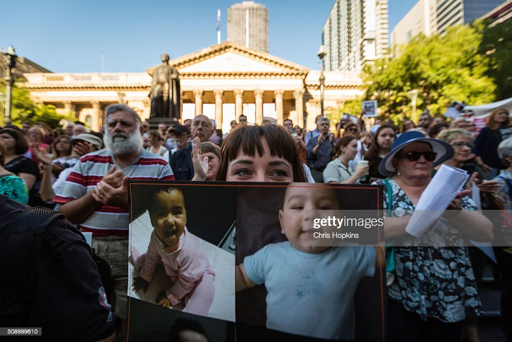 Thousands of Melbournians rallied on the steps of the state library in co-ordinated, Australia-wide rallies, protesting the High Courts decision regarding the 267 refugees facing deportation on February 8, 2016 in Melbourne, Australia. The High Court rejected a legal challenge to the federal government's offshore immigration detention regime on Wednesday, which means 267 people, including babies and children, face deportation from Australia to detention camps on Manus Island and Nauru within days.