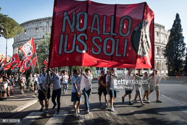 Thousands of members of Italian farright movement CasaPound from all over Italy march with flags and shout slogans during a demonstration to protest...