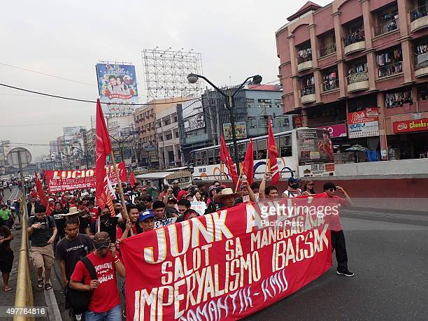 Thousands of militant groups farmers and fishermen from Southern Luzon Philippines rallied on the streets of Manila to show their opposition against...