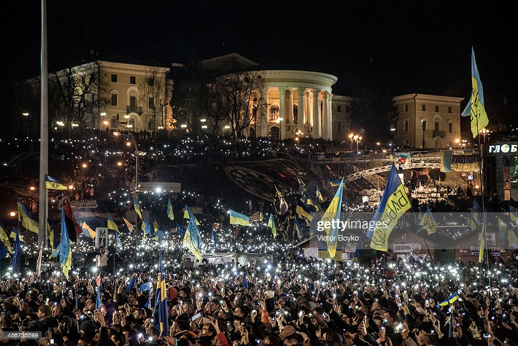 Thousands of mobile phone flashlights light up the Maidan Square as rock band Okean Elzy perform live on stage on December 14, 2013 in Kiev, Ukraine. Anti-government protests began three weeks ago when Ukrainian President Victor Yanukhovych angered many Ukrainians by refusing to sign an agreement that would strengthen cooperation with the European Union.