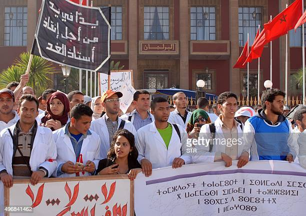 Thousands of Moroccan students and teachers take part in a demonstration outside the parliament in the capital Rabat on November 12 2015 against a...