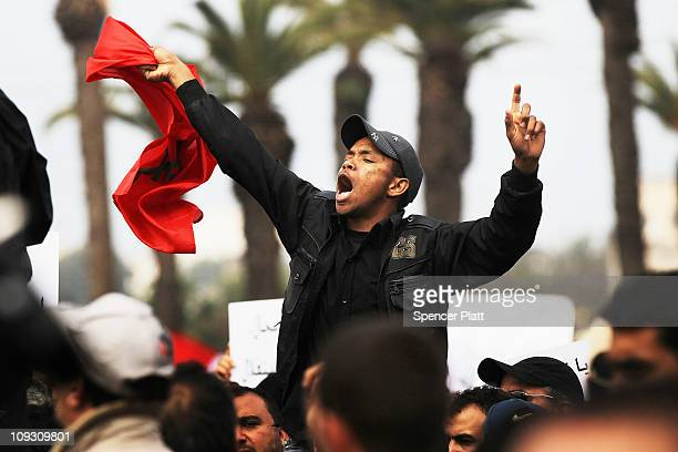 Thousands of Moroccans demonstrate against the regime led by King Mohammed VI on February 20 2011 in Rabat Morocco Responding to calls by the...