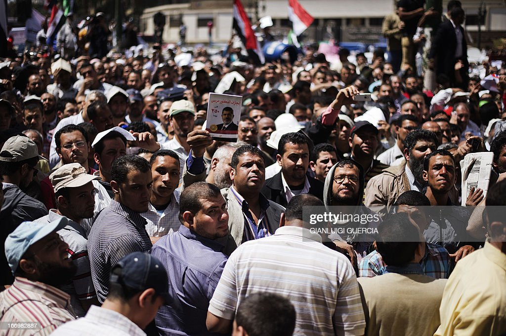 Thousands of Muslim Brotherhood supporters protest in front of the High Court in Cairo demanding a purge in the Egyptian judicial system on April 19, 2013.