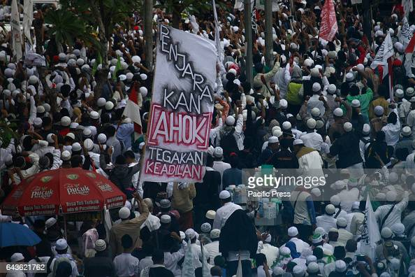Thousands of Muslims from various organizations that are members of the Islamic People's Front conduct a demonstration that called Action 212 part in...