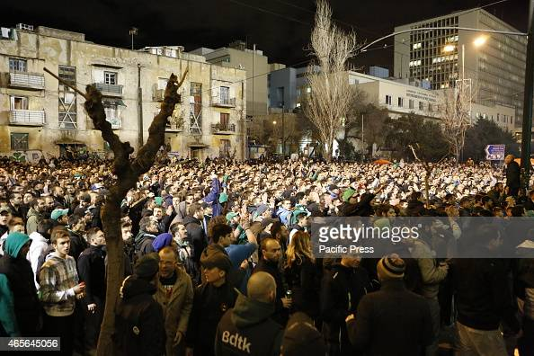 STADIUM ATHENS ATTICA GREECE Thousands of Panathinaikos fans watch the game outside their home stadium on a giant screen Fans of Greek football club...