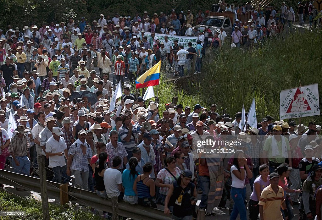 Thousands of peasants and indigenous people protest for the difficulties of the coffee sector in Bolombolo municipality, southwest of Medellin, Antioquia department, Colombia on February 25, 2013. Prices and production of coffee have dropped in the last years, informed coffee grower leaders. AFP PHOTO/Raul ARBOLEDA