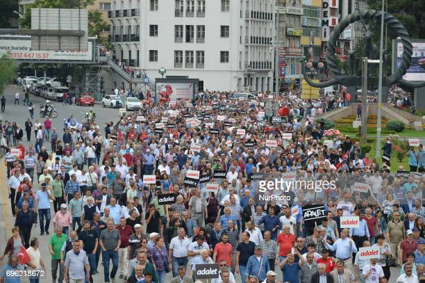 Thousands of people are seen during the 'Justice March' to protest against the Turkish government held by the main opposition Republican People's...
