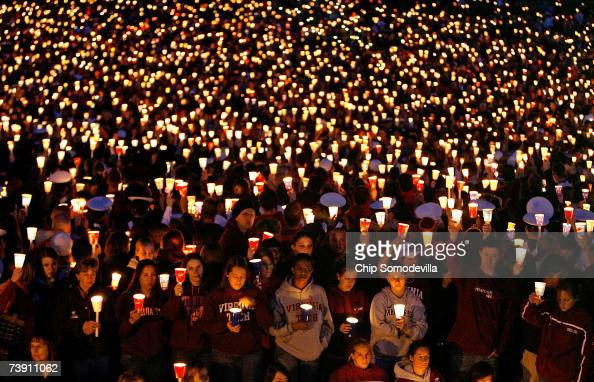 Thousands of people attend a candlelight vigil on the campus of Virginia Tech April 17 2007 in Blacksburg Virginia According to police English major...