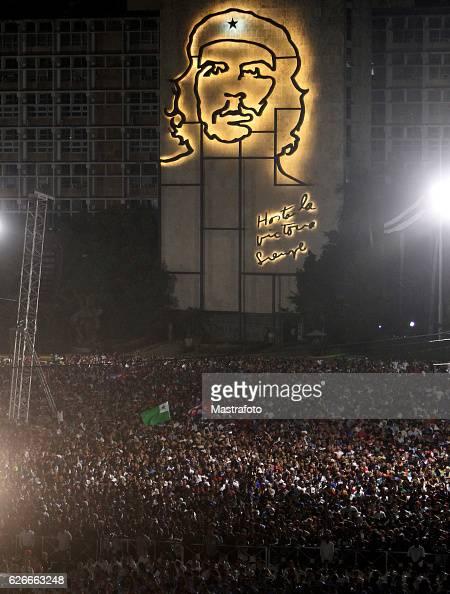 Thousands of people attend a rally honoring the late Cuban leader Fidel Castro at Plaza de la Revolucion on November 29 2016 in Havana Cuba Castro...