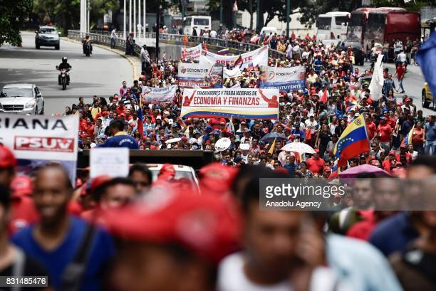 Thousands of people attend a rally to support Venezuelan President Nicolas Maduro and oppose US President Donald Trump in Caracas on August 14 2017