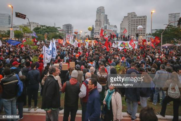 Thousands of people attend demonstration on Largo da Batata in Sao Paulo Brazil on April 28 2017 A nationwide general strike has been called against...