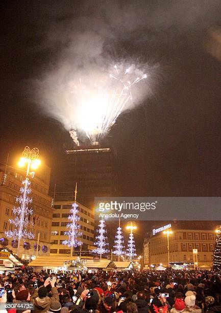Thousands of people attend new year celebrations at Ban Jelavic Square in Zagreb Croatia on January 01 2017