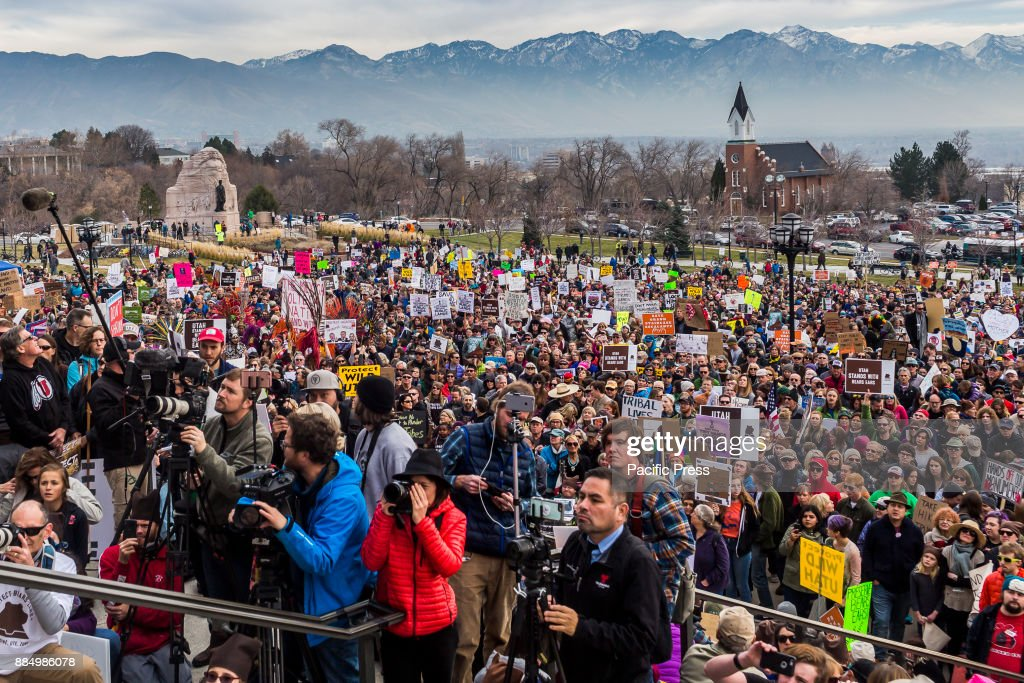 Thousands of people converged on the steps of Utah's State Capital building to protest President Trump's plan to shrink protected areas across the country. Two of those areas are both in Utah -- Bears Ears and the Grand-Staircase Escalante National Monuments. Trump is scheduled to make the announcement on Monday, December 4th, at the Utah State Capital building.