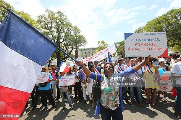 Thousands of people demonstrate for the territorial continuity on October 16 2014 in SaintDenisdelaReunion calling by the president of the Reunion...