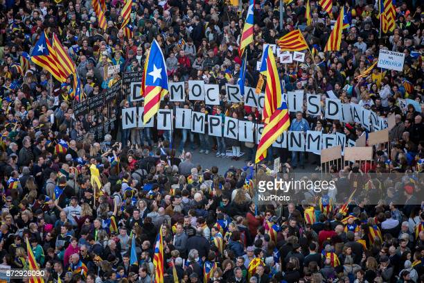 Thousands of people demonstrate in Barcelona under the slogan quotFreedom political prisonersquot in support of members of the Catalan government...