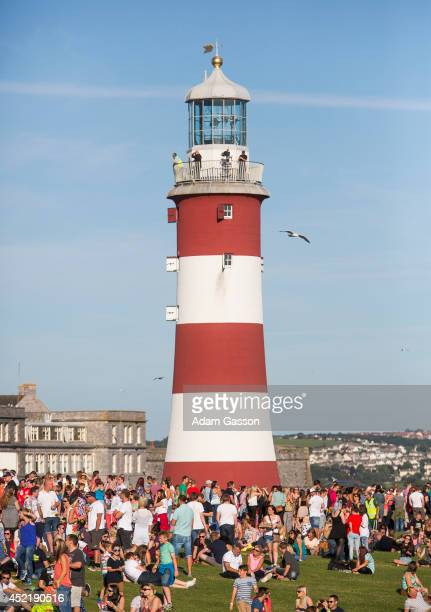 Thousands of people enjoy the sun at MTV Crashes Plymouth at Plymouth Hoe on July 15 2014 in Plymouth England