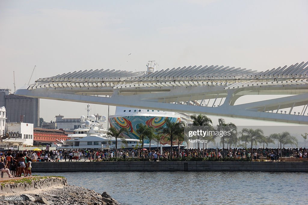 Thousands of people enjoying the Rio 2016 Olympic Boulevard attractions in downtown Rio de Janeiro Brazil on 16 August 2016 On site there are several...