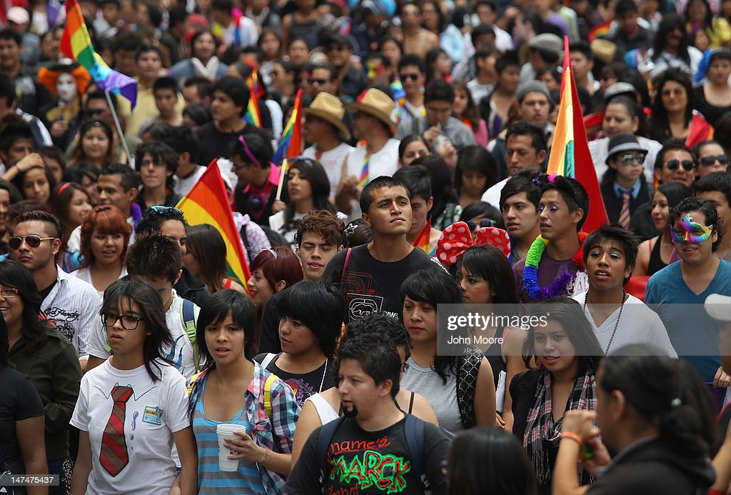 Thousands of people fill Mexico City's Paseo de la Reforma during a gay pride march on June 30, 2012 in Mexico City, Mexico. Mexicans go the polls Sunday for presidential elections.