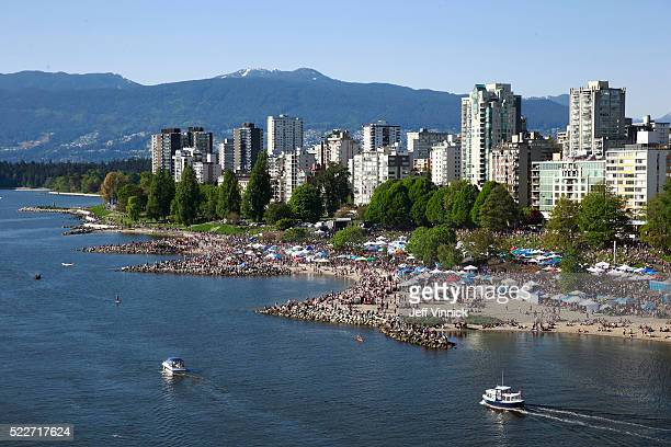 Thousands of people gather at 4/20 celebrations on April 20 2016 at Sunset Beach in Vancouver Canada The Vancouver 4/20 event is the largest free...