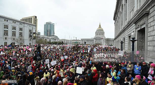 Thousands of people gather at Civic Center to protest President Donald Trump and to show support for women's rights in San Francisco on January 21...
