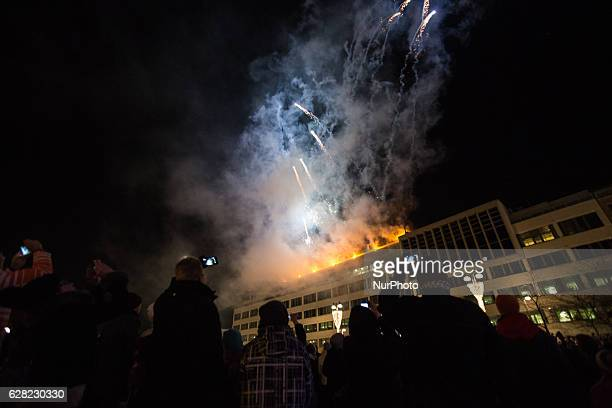 Thousands of people gather at the central square of the city of Tampere Finland to celebrate Finlands 99th Independence Day and to watch the...