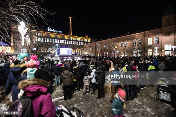 Thousands of people gather at the central square of the city of Tampere Finland to celebrate Finlands 99th Independence Day on December 6 2016