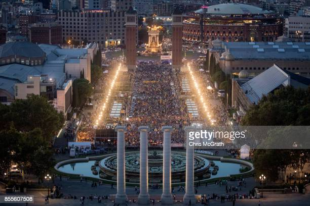 Thousands of people gather at the final proindependence rally at Plaza Espana ahead of Sunday's referendum vote on September 29 2017 in Barcelona...