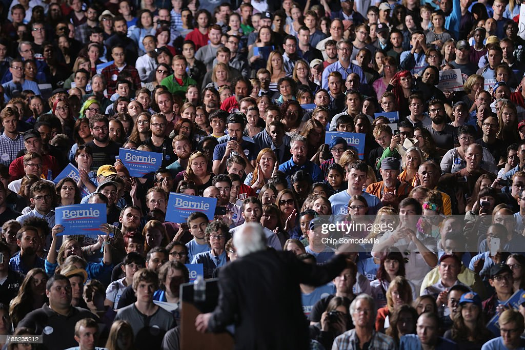 Thousands of people gather to hear Democratic presidential candidate Sen. <a gi-track='captionPersonalityLinkClicked' href=/galleries/search?phrase=Bernie+Sanders&family=editorial&specificpeople=2908340 ng-click='$event.stopPropagation()'>Bernie Sanders</a> (I-VT) during a campaign rally at the Prince William County Fairground September 14, 2015 in Manassas, Virginia. Sanders addressed 12,000 students at Christian Liberty University earlier in the day.