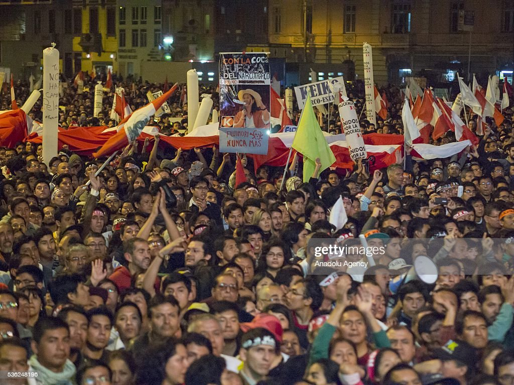Thousands of people gather to protest the presidential candidacy of Keiko Fujimori, in Lima, Peru on May 31, 2016. The march was conducted peacefully starting in the San Martin Square and ending at the Plaza Dos de Mayo.
