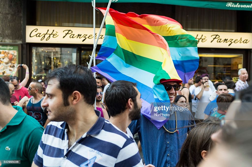 Thousands of people gathered for the march in Milan in favor of gay rights and LGBT. Milan June 25, 2016