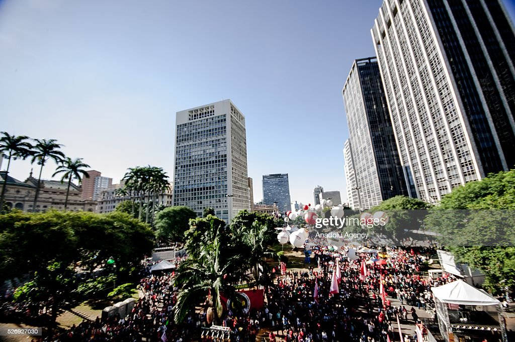 Thousands of people listen Brazil's President Dilma Rousseff speech during a May Day rally in Sao Paulo, Brazil, Sunday, May 1, 2016.