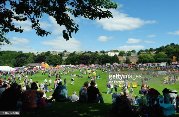 Thousands of people make their way to the racecourse area of Durham as they spend the day at the 133rd Durham Miners Gala on July 8 2017 in Durham...