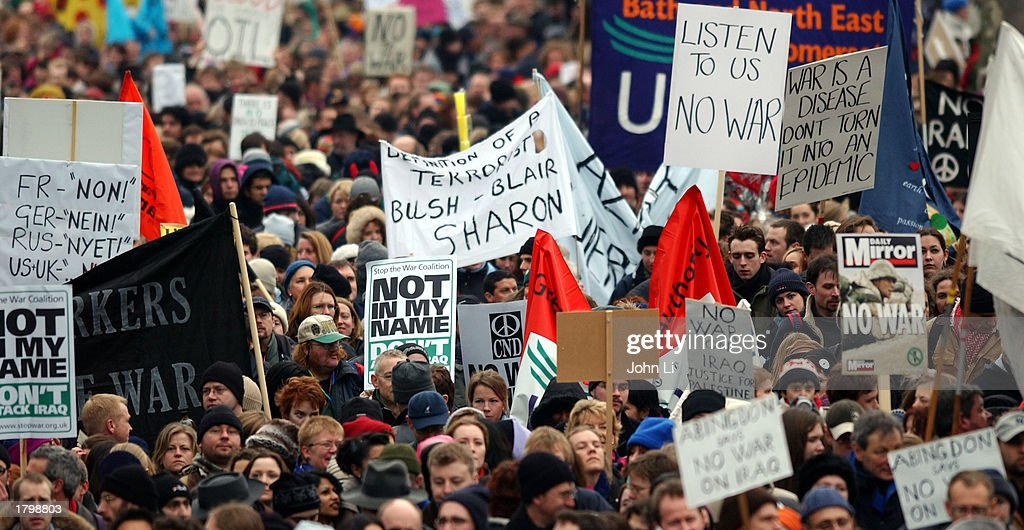 Thousands of people march along the Embankment towards Hyde Park as they participate in an antiwar protest march February 15, 2003 in London, England. The march is believed to be the UK's biggest ever peace protest. Massive demonstrations are taking place in Europe, North America and Australia today against a possible U.S.-led war on Iraq.