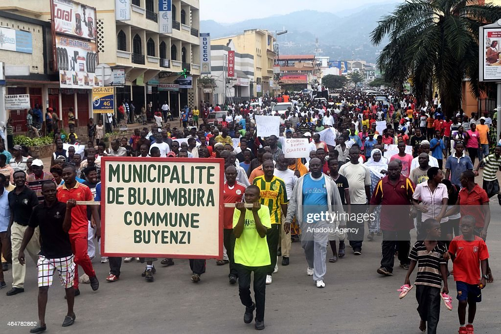 Thousands of people march in Bujumbura, Burundi on February 28, 2015 during a demonstration held to demand Burundi's President <a gi-track='captionPersonalityLinkClicked' href=/galleries/search?phrase=Pierre+Nkurunziza&family=editorial&specificpeople=563215 ng-click='$event.stopPropagation()'>Pierre Nkurunziza</a> take office for the third time in the presidential election which is planned to be held on 26th of June.