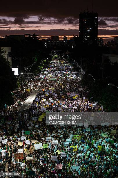 Thousands of people march in the center of Recife state of Pernambuco Brazil on June 20 during a protest of what is now called the 'Tropical Spring'...
