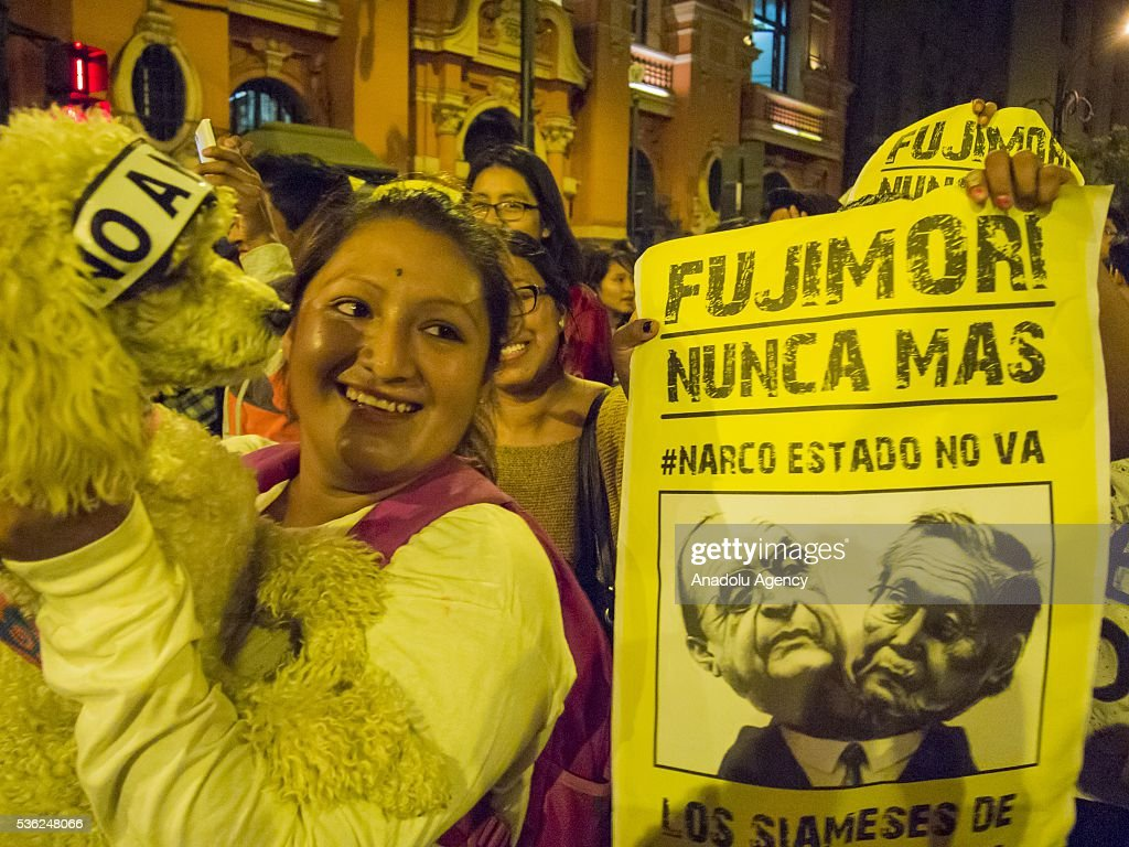 Thousands of people march on the streets in opposition to the presidential candidacy of Keiko Fujimori, in Lima, Peru on May 31, 2016. The march was conducted peacefully starting in the San Martin Square and ending at the Plaza Dos de Mayo.