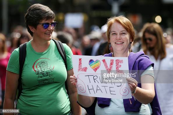 Thousands of people march up Queen Street on January 21 2017 in Auckland New Zealand The marches in New Zealand were organised to show solidarity...